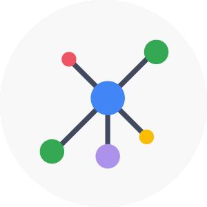 icono que representa el remarkeging, esferas que conectan en un sólo punto