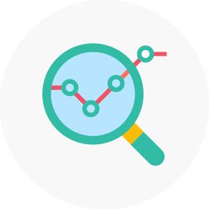 icono de lupa sobre graficas indicando el análisis seo