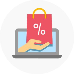 icono de representando tienda en línea mostrando una bolsa que sale de la pantalla